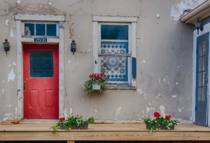 Red door in Blue Grass