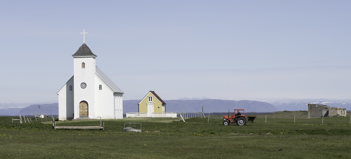 Church, library and tractor