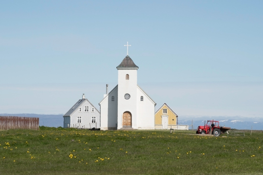 Church with tractor