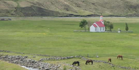Landscape 3 with church and horses